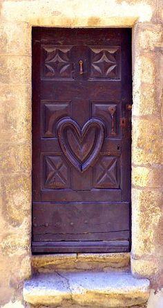Purple door wht heart handles