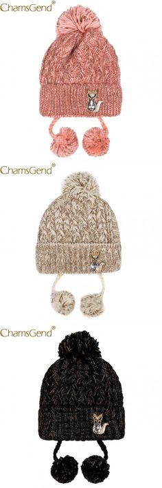e9efe7ef497 Newly design women warm hat cold winter crochet knitted beanies hairball  crystal fox woman caps warm