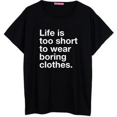 Boring Clothes Oversized T Shirt Boyfriend Womens Ladies Girl Fun Tee... ($22) ❤ liked on Polyvore featuring tops, t-shirts, shirts, tees, black, women's clothing, black tee, boyfriend tee, hipster t shirts and loose shirts