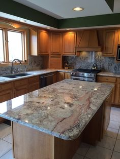 New Monte Carlo granite counters, backsplash, granite sink and stainless kitchenaid appliances breathe life into 25 year old kitchen. Kitchen Aid Appliances, Kitchen Units, Kitchen Redo, New Kitchen, Kitchen Remodel, Kitchen Ideas, Kitchen Makeovers, Kitchen Interior, Slate Countertop