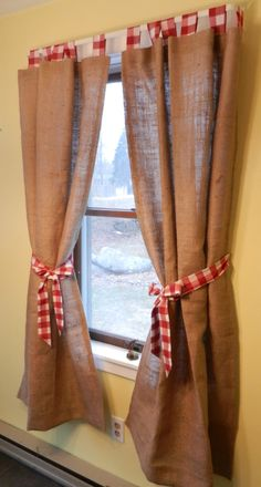 burlap lined tab curtain. Red and white check tabs with red and white check bows