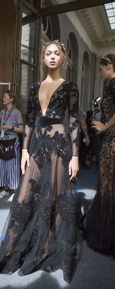 Haute Couture, Fashion, Black Dress, Elegant, Lace