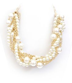 Chunky Braided White Pearl Gold Chain Necklace Elegant Jewelry at low low prices www.ElegantcostumeJewelry.com
