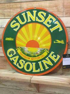 rare large gasoline porcelain sign - 236×318