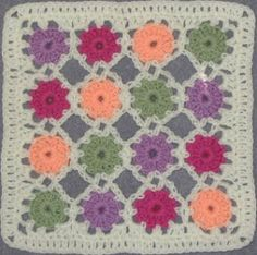 Simple Yoyo Square Motif By Chris Simon - Free Crochet Pattern - Click On Scribd Symbol On Far Right Side For Large View Of Pattern - (yarncrazy.blogspot)