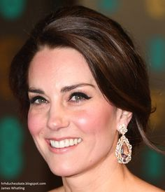 hrhduchesskate:  2017 BAFTA Awards, Royal Albert Hall, February 12, 2017-Duchess of Cambridge with up-close look at her make-up and earrings
