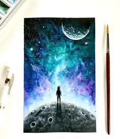 Beautiful art by talented artist  Follow artist @artbysinch for more Hashtag #anartfeature to get your art featured!!! . . . #anart #art #artpop #artlover #artistsoninstagram #artoftheday #visuals #creative #watercolor #galaxy #milkyway #skypainting