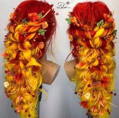 too much yellow for my complexion but gorgeous - Hair Colour Hair Dye Colors, Cool Hair Color, Fire Hair Color, Pelo Multicolor, Fantasy Hair, Fantasy Makeup, Dream Hair, Crazy Hair, Rainbow Hair
