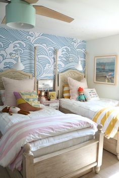 This girls shared bedroom with temporary wallpaper is so fun! We wanted a coastal eclectic style with blue waves temporary wallpaper, nautical sconces Waves Wallpaper, Temporary Wallpaper, Girl Room, Girls Bedroom, Girls Nautical Bedroom, Kid Bedrooms, Coastal Bedrooms, Home Decor Bedroom, Living Room Decor