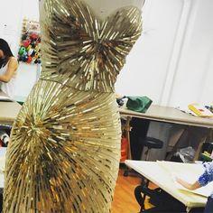 Stunning metallic sunburst sequin embroidery being worked on in the studio today. #ChristianSiriano #CSiriano