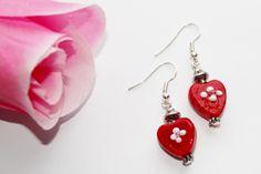 Glass heart earrings ~ only $8.99 at Shoppingbuyfaith.com