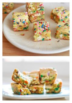Cake Batter Blondies! I'm going to make these (86 sprinkles, add walnuts) today with the Maple Butter Blondie sauce from my other pin. Who says you can't have Applebees in Germany?!