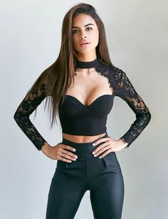 TIGER MIST - CASSIDY LACE TOP - BLACK - PRE-ORDER