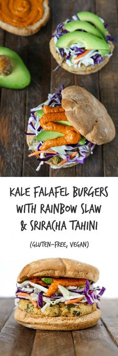 Kale Falafel Burgers with Rainbow Slaw & Sriracha Tahini Gluten-free, Vegan The Plant Philosophy Delicious Vegan Recipes, Healthy Recipes, Yummy Food, Vegan Vegetarian, Vegetarian Recipes, Veg Recipes, Falafel Burgers, Whole Food Recipes, Cooking Recipes