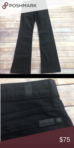 """7For All Mankind Black$198 Slim Trouser Jeans26x33 7 For All Mankind Black 'The Slim Trouser' Jeans. They have a flare leg and look fantastic with heels. They feature a five-pocket style with zipper fly and button closure. These are the ones with RARE MATTE BLACK HARDWARE! Msrp $198. Rich Black, Excellent condition. Fabric Content: Cotton/Spandex Care: Machine Wash  Top (pulled taught): 15.5"""" Leg Opening: 10.5"""" Front Rise: 8"""" Zip bottom: 18.5""""-19.5"""" stretched Inseam: 33"""" 7 For All Mankind…"""