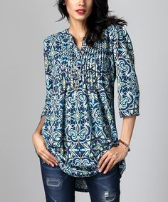 Another great find on #zulily! Blue Floral Notch Neck Pin-Tuck Tunic #zulilyfinds