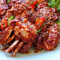 Here is the for spicy marinated crabs that many of you have asked for.This Yangnyum Gaejang is one of hubby's favorite Korean… Crab Recipes, Real Food Recipes, Yummy Food, Delicious Recipes, Korean Crab Recipe, Easy Asian Recipes, Korean Recipes, Recipes For Beginners, Korean Food