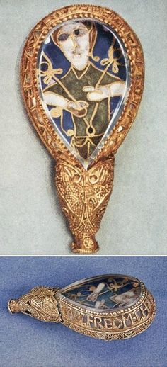 Front and side views of the Alfred Jewel, Anglo-Saxon, c. 871-99. Made with gold and cloisonne enamel.