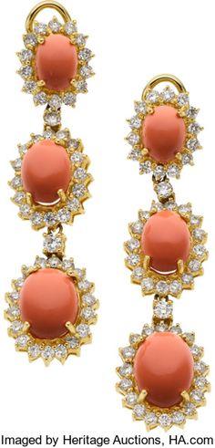 Estate Jewelry:Earrings, Coral, Diamond, Gold Earrings. ...