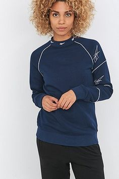 Reebok - Sweat à trois logos bleu marine