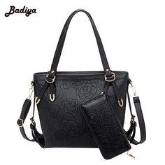 Brief Design Rose Pattern 2 Set PU Leather Women Bag 2017 Fashion Women Handbag Composite Bag Famous Brand Designer Shoulder Bag