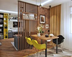 20 Best Multifunctional Room Dividers To Spice Up Your Home Check out the most outstanding multifunctional space divider that will make your spacious rooms look resourceful. Grab the perfect one from the given examples. Living Room Partition, Room Partition Designs, Wood Partition, Living Room Sets, Home Living Room, Interior Design Living Room, Living Room Designs, Kitchen Interior, House Design