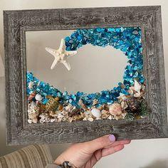 Sea Crafts, Sea Glass Crafts, Sea Glass Art, Glass Wall Art, Starfish Art, Seashell Art, Seashell Crafts, Seashell Projects, Beach Canvas Art