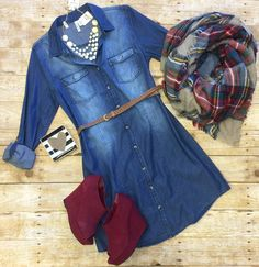 Always the Favorite Chambray Belted Tunic Dress: Dark