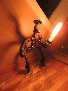Fighting Robot Lamp by JKpinsandnails on Etsy