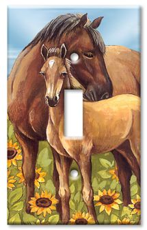 Horses in Sunflowers decorative switch plate For Decorating Lu's room