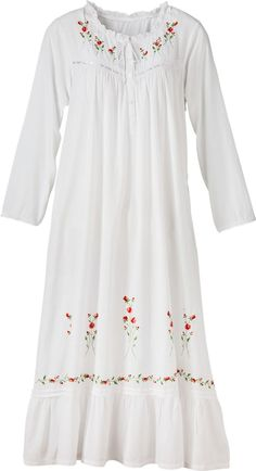 Women's Winter Rose Embroidered White Cotton Nightgown: Airy, lightweight cotton embellished to make you feel as special as you truly are. The neckline is finished with a sweet ruffle and adjustable tie, while bouquets of embroidered roses and ribbon-and-lace trim adorn the button-front bodice. More rose bouquets as well as a border of roses are echoed along the bottom. Lace-trimmed sleeves and a demure ruffled hemline complete this beautiful nightgown.