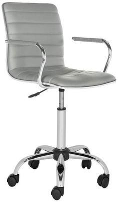 Jonika Desk Chair Grey   Modern Office Chair by Safavieh at Contemporary Modern Furniture  Warehouse - 1 Pc Gaming Chair, Desk Chairs, Office Chair Without Wheels, Oversized Chair, Comfy, Bean Bag Chair, Living Room, Big, Furniture
