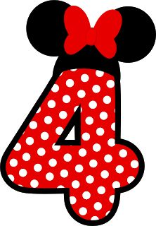 Números Minnie. Cuatro. 4.