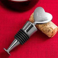 Custom Engraved Monogram Silver Heart Wine Stopper