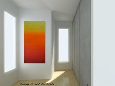 Large Abstract Sunset Painting  Textured Red by gilliansarah, $239.00