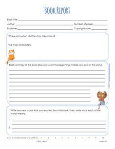 7th grade book report template pdf