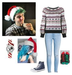 """""""Christmas feminine Crankgameplays (Ethan Nestor)"""" by legendaryfanboy ❤ liked on Polyvore featuring H&M, Alexander McQueen, A Classic Time Watch Co., Converse and Arthur George"""