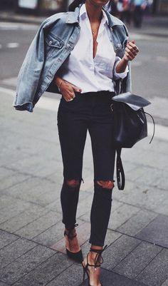 denim on denim fashion blogger wearing winter outfit