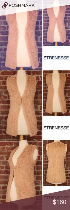 """Real Fur Vest Knitted Rabbit Camel Long Gilet 236 Strenesse Blue Women's Knitted Rabbit Fur Vest / Gilet Long Camel Genuine Low V Neck Open Front.  Super Soft, Fluffy and Warm.  Layer it over a cashmere sweater, white crisp white shirt, or a simple T-shirt.  It will become a wardrobe staple! Retail: $500 Size: 4 / Small Shoulder: 13.5"""" Armpit to Armpit: 17"""" Length: 26"""" Condition: MINT – Excellent Pre-Owned Condition - Gently Worn - Smoke and pet free environment PWT: 0.09 CSKU: 236 All…"""