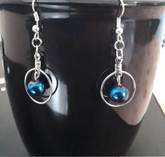 Silver with Turquoise Bead Drop Earrings by CinnamonCreations14 on Etsy