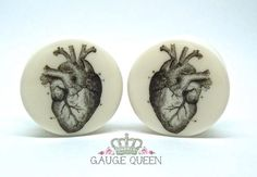 "Anatomical Heart Plugs / Gauges. 4g /5mm, 2g /6.5mm, 0g /8mm, 00g /10mm, 1/2"" /12.5mm, 9/16"" /14mm,5/8"" /16mm,3/4"" /19mm,7/8"" /22mm,1"" /25mm by TheGaugeQueen on Etsy https://www.etsy.com/listing/120174371/anatomical-heart-plugs-gauges-4g-5mm-2g"