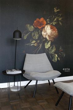 Dit prachtige behang met een stilleven met bloemen in donker rood en zwart is ge. This beautiful wallpaper with a still life with flowers in dark red and black is based on an image from the Rijksmus Dark Flowers, Home Wallpaper, Red Wallpaper, Floral Wall, Vintage Walls, Wall Design, Home Art, Wall Murals, Wall Decor