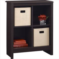 Altra Furniture 4 Cube Storage Cubby Bookcase with 2 Storage Bins in Dark Roast - 7647012P - Lowest price online on all Altra Furniture 4 Cube Storage Cubby Bookcase with 2 Storage Bins in Dark Roast - 7647012P