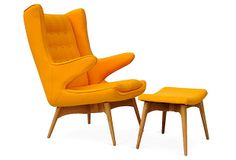 One Kings Lane - A New Perspective - Jonis Armchair and Ottoman, Yellow