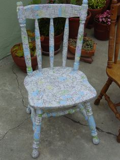 Map chair collage decoupage by me....first chair project