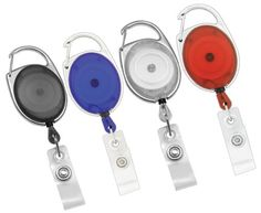 Carabiner Badge Reel, Retractable ID Holder   4 Reels, 1 Each in Red, Clear, Black, and Blue   By ToNic Innovation