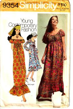 Vintage 1970s Hippie Boho Peasant Maxi Dress Simplicity 9354 Sewing Pattern by PeoplePackages