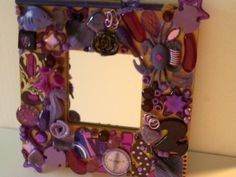 Purple and Pink with Gold Mixed Media Mirror by plrdesigns.com