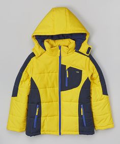 Loving this Yellow & Navy Color Block Puffer Coat - Infant, Toddler & Boys on #zulily! #zulilyfinds