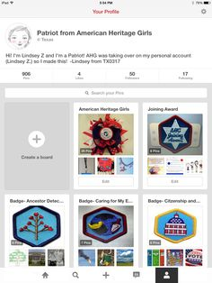 Hi everyone! AHG was taking over this account so I created a Pinterest just for American Heritage Girls! Check it out! Every badge has a board plus a lot of events! @patriottx0317